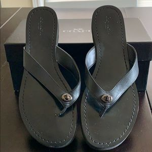 Coach Shelly black flip flop sandal.  Size 9.5
